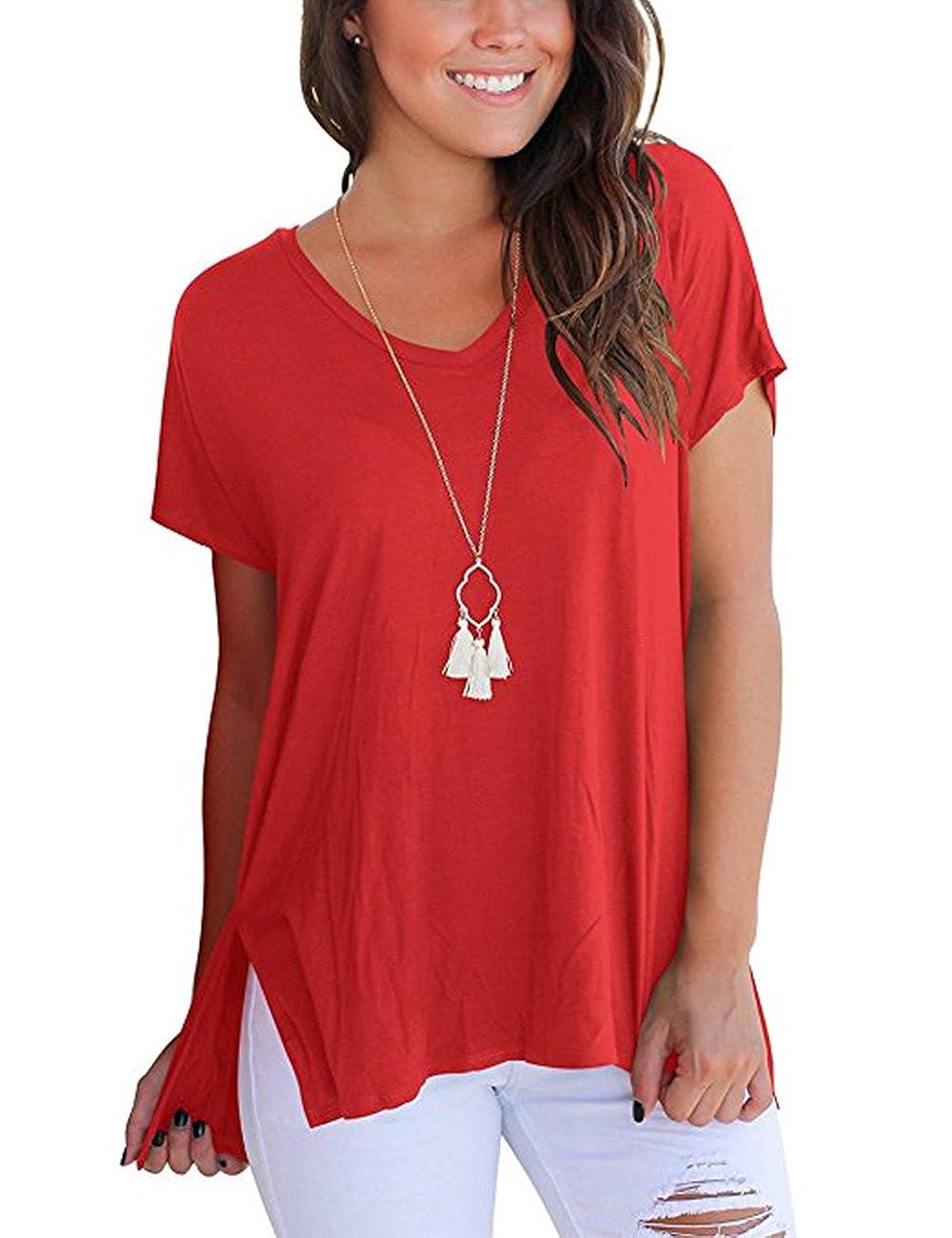Yonala Women's Short Sleeve T Shirt Basic Tee Tops Plain Casual Tees Shirt