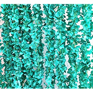 Crt Gucy 2 Pack 14 FT Artificial Hydrangea Flower Vine Wisteria Vines Cattleya Flowers Plants For Home Hotel Office Wedding Party Garden Craft Art Décor, Tiffany Blue