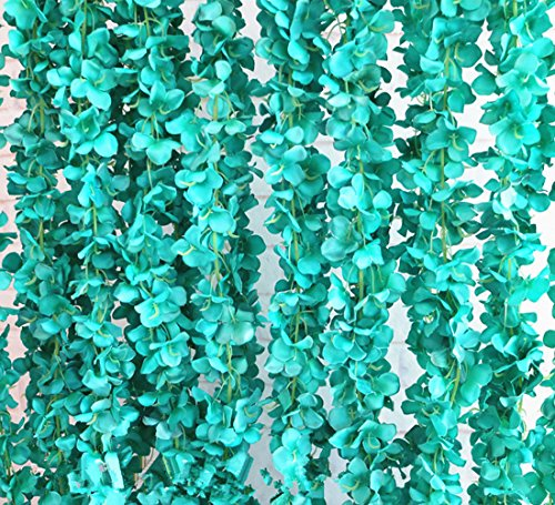(Crt Gucy 2 Pack 14 FT Artificial Hydrangea Flower Vine Wisteria Vines Cattleya Flowers Plants For Home Hotel Office Wedding Party Garden Craft Art Décor, Tiffany Blue)