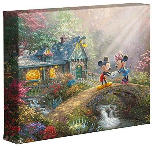 Disney Mickey Mouse Canvas - Thomas Kinkade Studios Disney's Mickey and Minnie Sweetheart Bridge 8 x 10 Gallery Wrapped Canvas