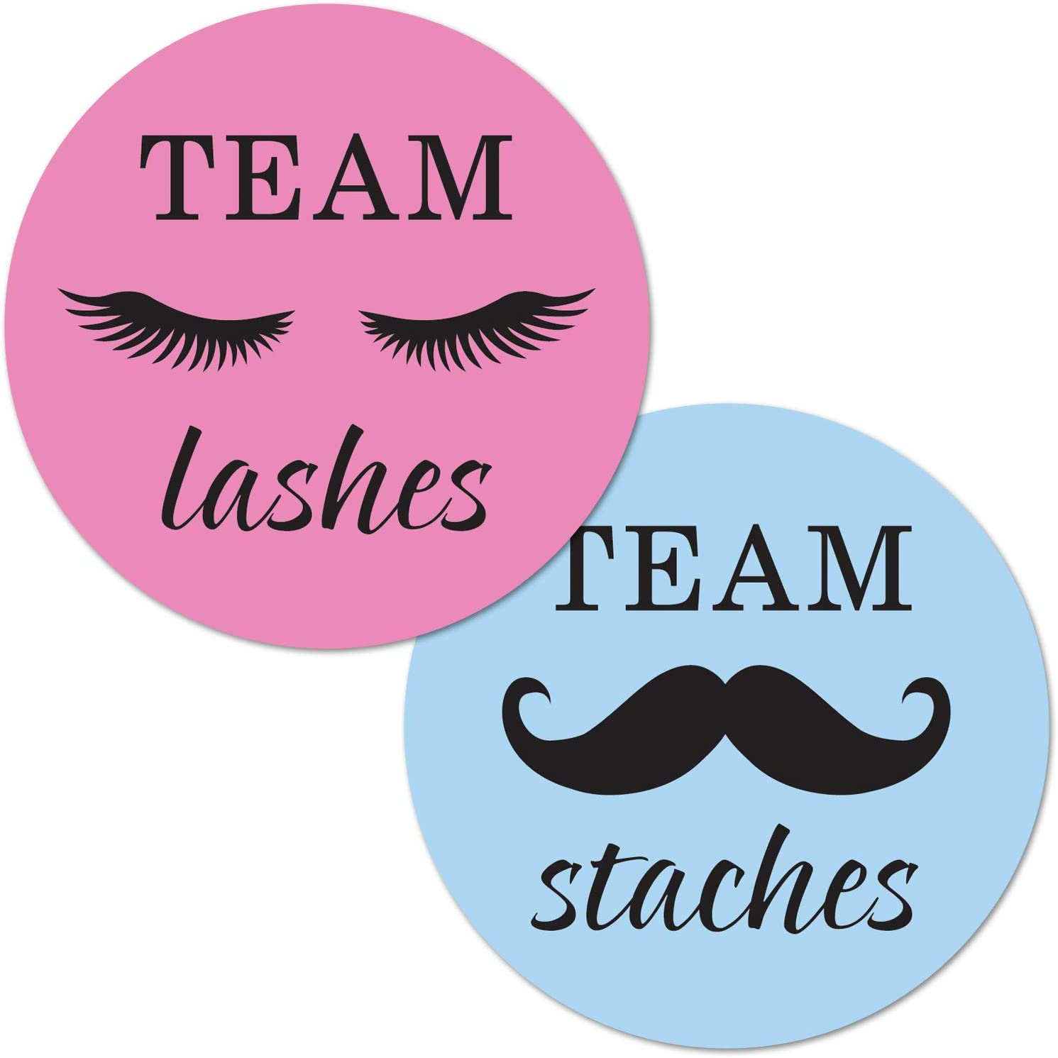 Baby Shower Voting Team Girl You Choose Size Labels Favor Tags Lashes or Staches Gender Reveal Party Stickers Team Boy