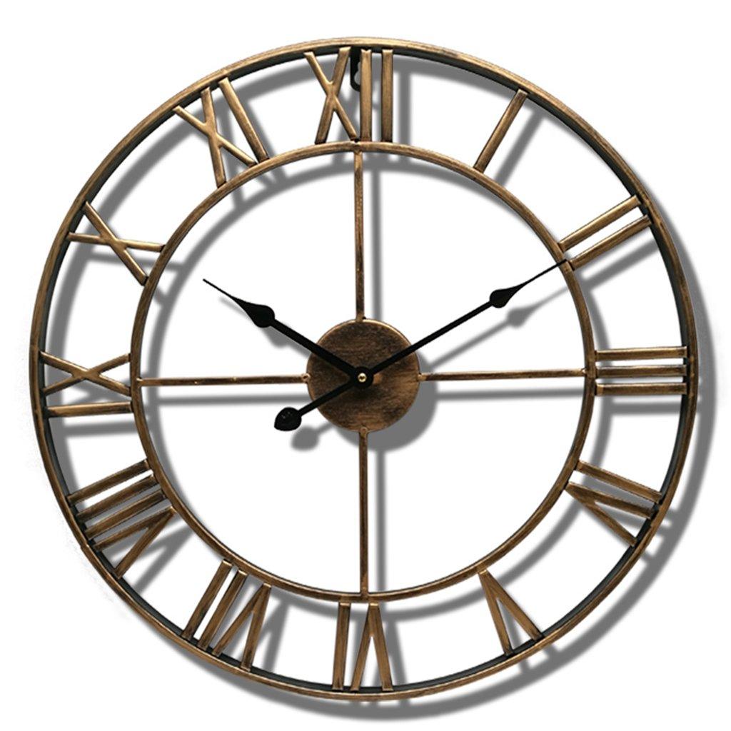 Nclon Retro Orologio da parete, Ferro battuto Numeri romani Grande Rotondo Nordico Metallo Soggiorno Café Precisione Orologio da parete-nero 40cm