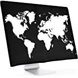"kwmobile Monitor Cover for 27-28"" Monitor - Dust Cover PC Monitor Case Screen Display Protector - Travel Outline White/Black"