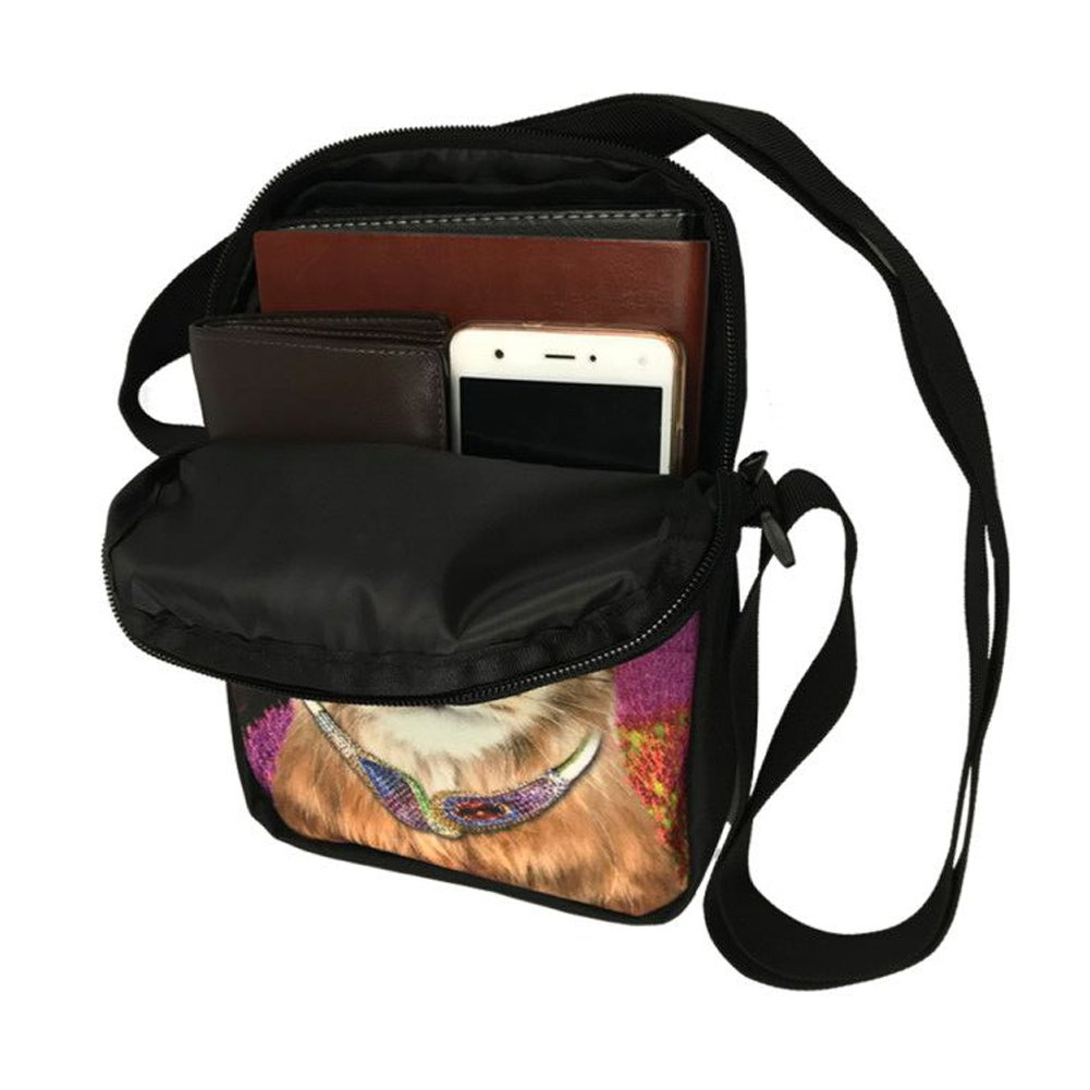 Showudesigns Colorful Wolf Printing Men Boys Shoulder Crossbody Bags with Zipper