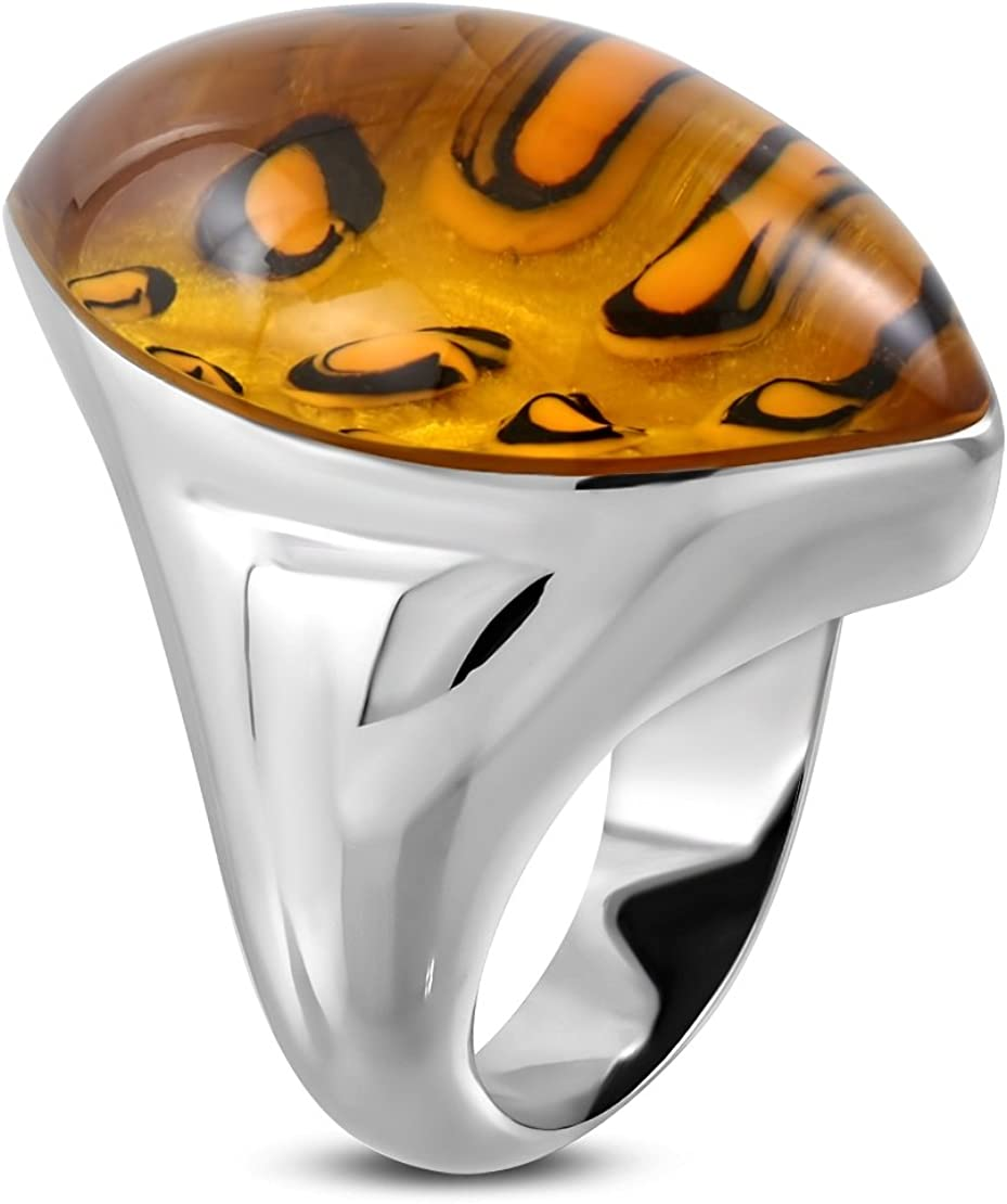 Stainless Steel Bezel-Set Diamond-Shape Fancy Ring with Leopard Paint Synthetic Amber Stone