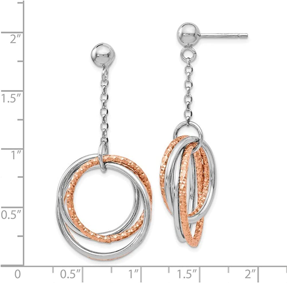 925 Sterling Silver Rhodium-plated Textured Circles Dangle Earrings