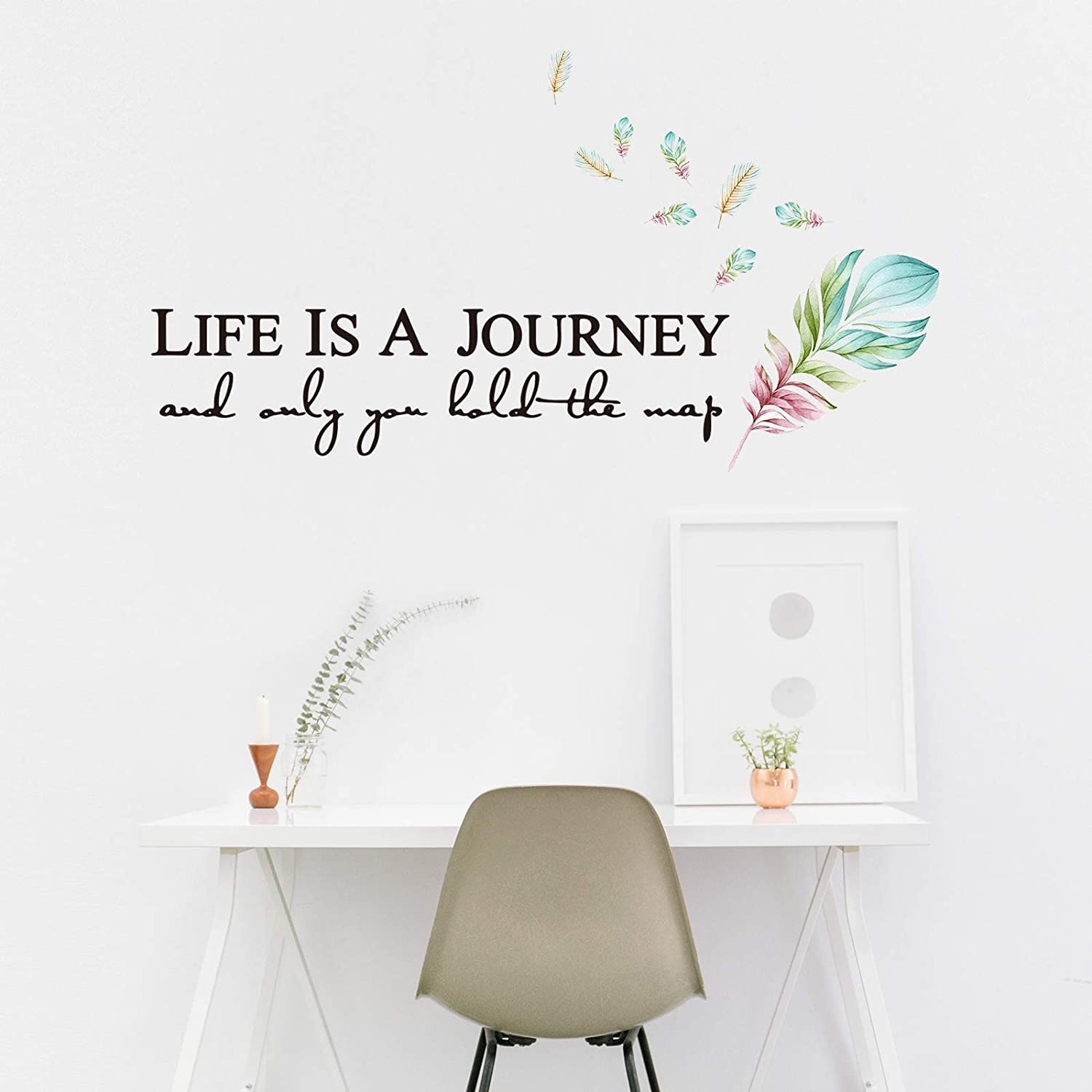 Life is a Journey and Only You Hold The Map Personality and Creative Feather Wall Stickers, DILIBRA Vinyl Verses Bible Prayer Wall Decor,Inspirational Quote Stickers