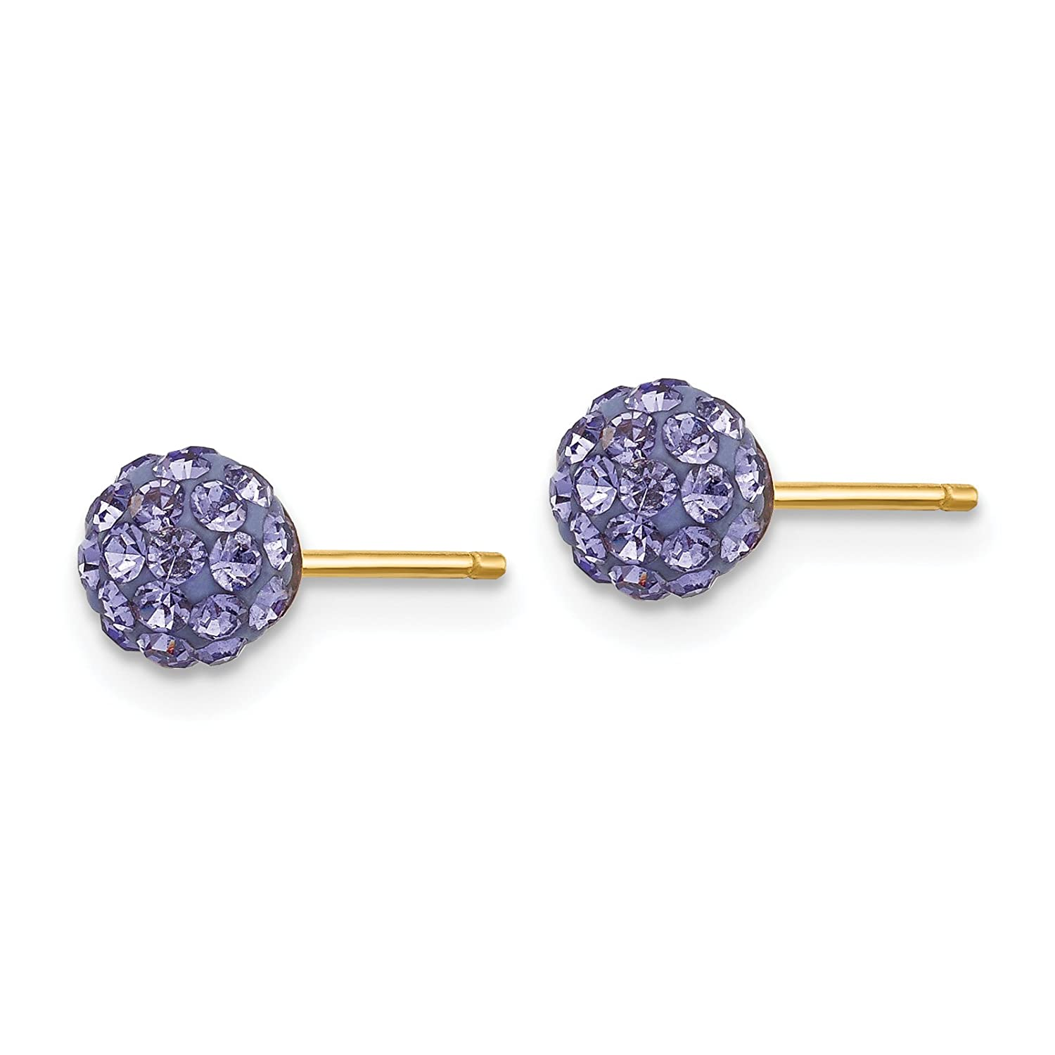 14k Yellow Gold Childs 5mm Purple Crystal Post Earrings w//Gift Box.