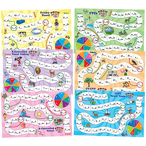 Really Good Stuff Long & Tricky Vowel Pattern Word Building Board Games