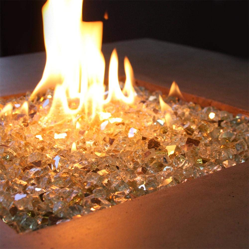 VIVID Heat Vibrant Luster 1/2'' Elegant Gold Medium - (10 Pound Bag) Reflective Style Fire Glass for Fireplace and Fire Pit by VIVID Heat