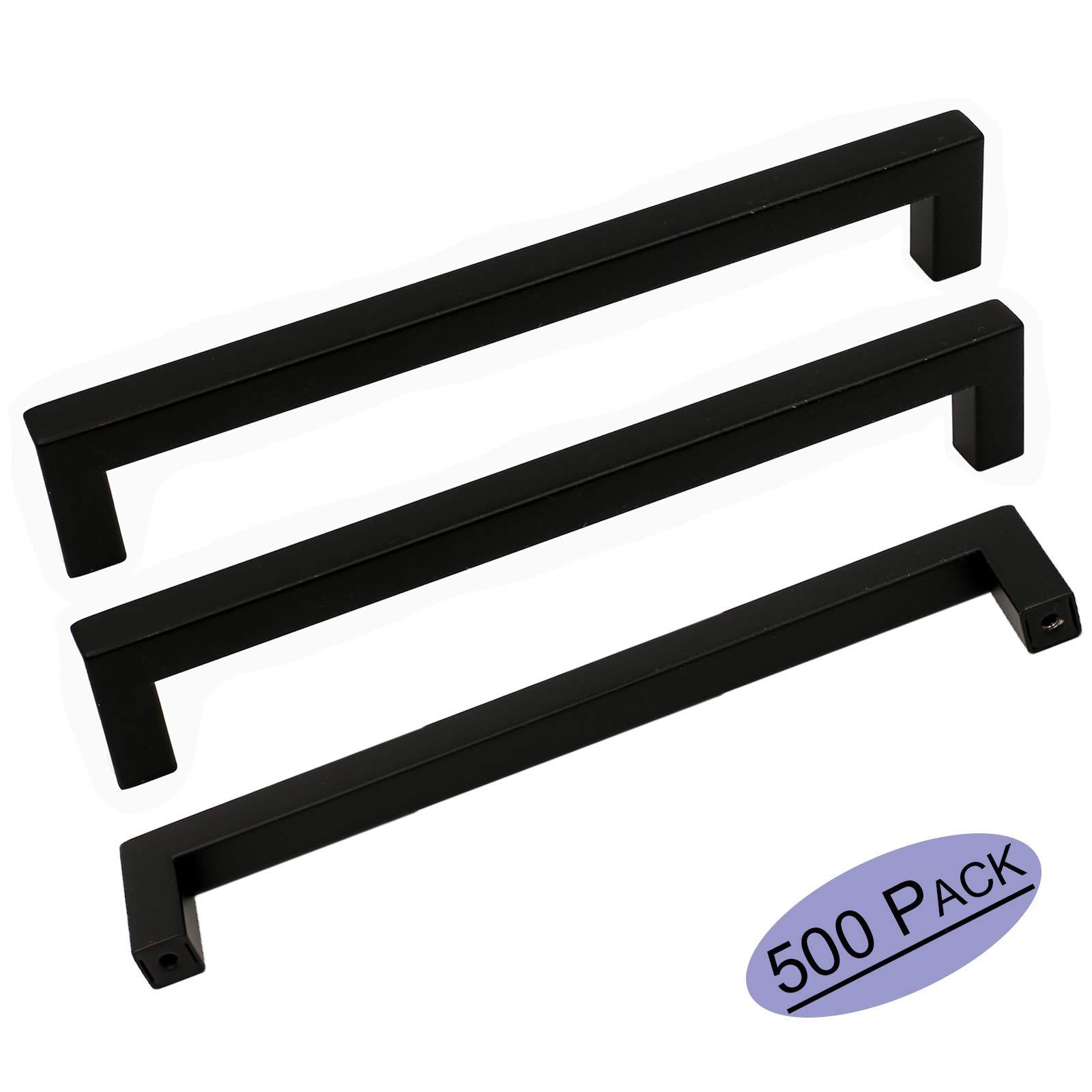 500Pack Goldenwarm Modern Cabinet Pulls Black Cabinet Hardware for Kitchen Cabinets Door Handles Flat Black Bathroom Drawer Pulls 8-4/5in(224mm) Center to Center Bar Pulls