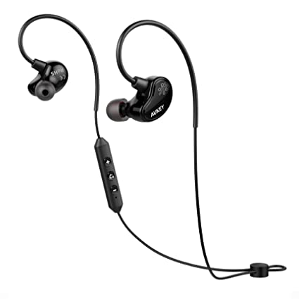 AUKEY Auriculares Bluetooth Inalámbrico APTX Con Sonido Estéreo para Deporte 3 Pares de Tapones Intercambiablesy Manos
