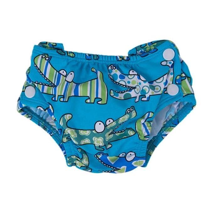 49407f25f1c2 Popolini - Pañal de natación con broches, diseño croco bleu: Amazon.es: Bebé