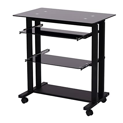 HOMCOM 33u0026quot; Glass Top Mobile Home Office Computer Cart Desk   Black