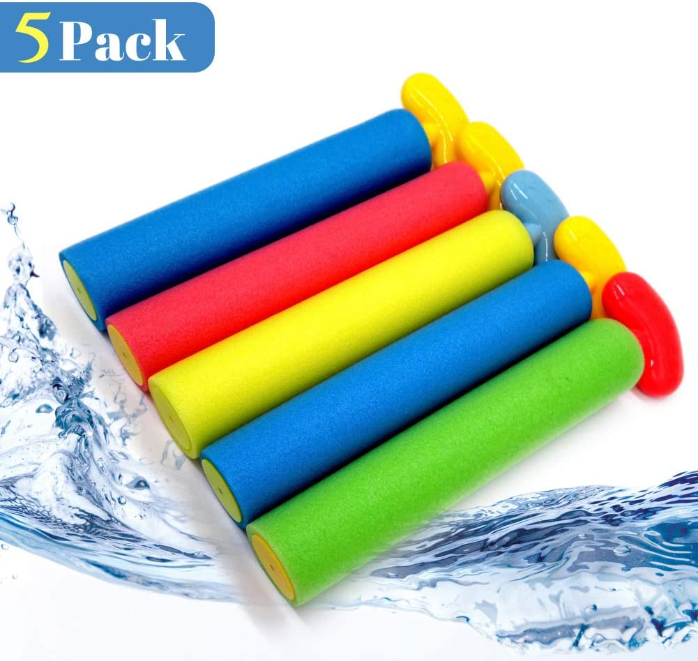 Pool Toys Water Guns for kids and Adults, 5 Pack Noodle Squirt Guns with Long Range up to 30ft, Foam Water Blasters Perfect for Summer Outdoor Beach, Strong Sprayers Water Shooters for Kids Boys Girls