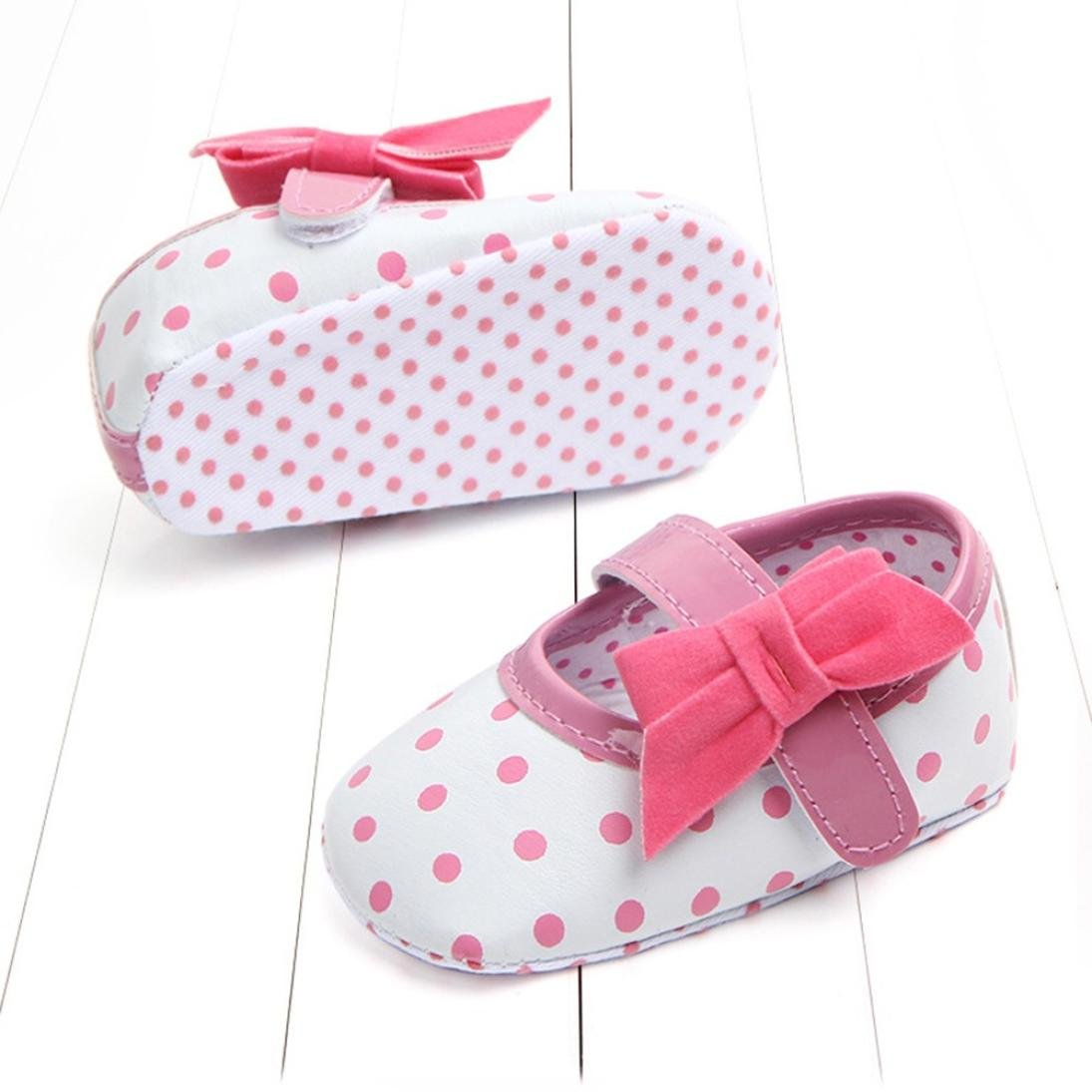 Age:9-12 Month, Pink HOT Sale,AIMTOPPY Baby male baby girl polka dot bow baby shoes baby shoes toddler shoes