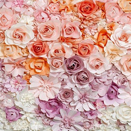 (AOFOTO 8x8ft Paper Flowers Backdrop Sweet Party Decoration Photography Background Bridal Shower Girl Kid Adult Portrait Seamless Photo Shoot Studio Props Video Drop Vinyl Wallpaper)