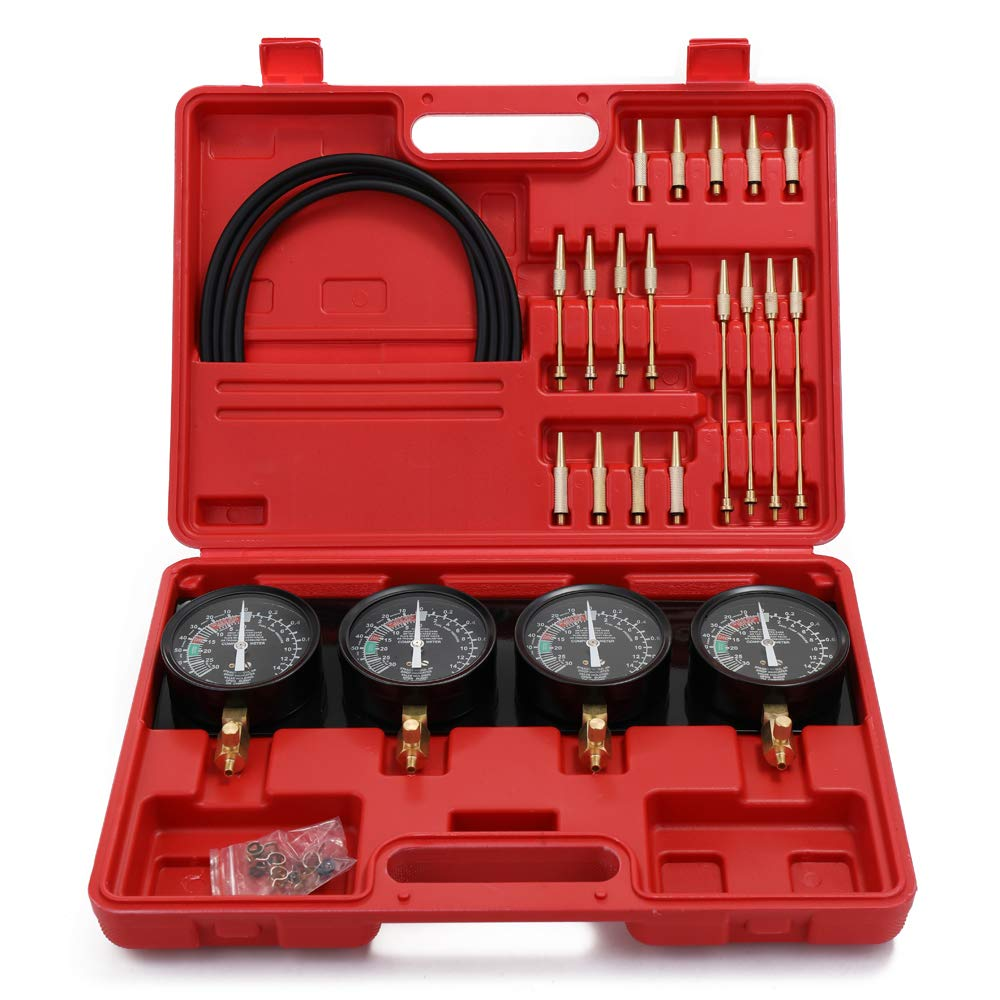 Carburetor Synchronizer and Adjustment Tool Kit, KKmoon Professional Portable Fuel Vacuum Carburetor Synchronizer Set 4 Gauges Tool Kit For Motorcycle Car Universal