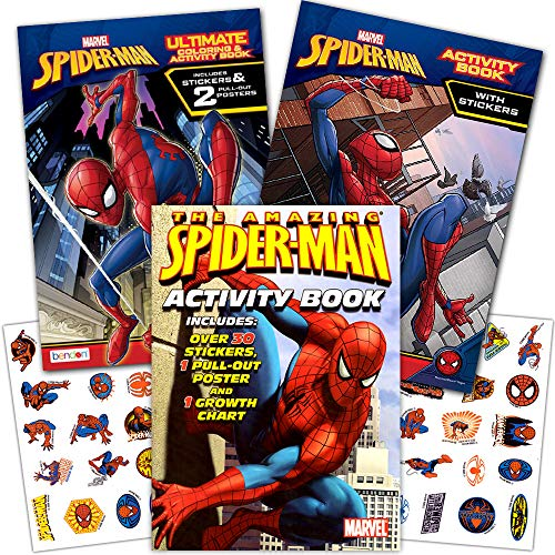 Marvel Spiderman Coloring Book Set with Stickers and Posters (3 Books)]()