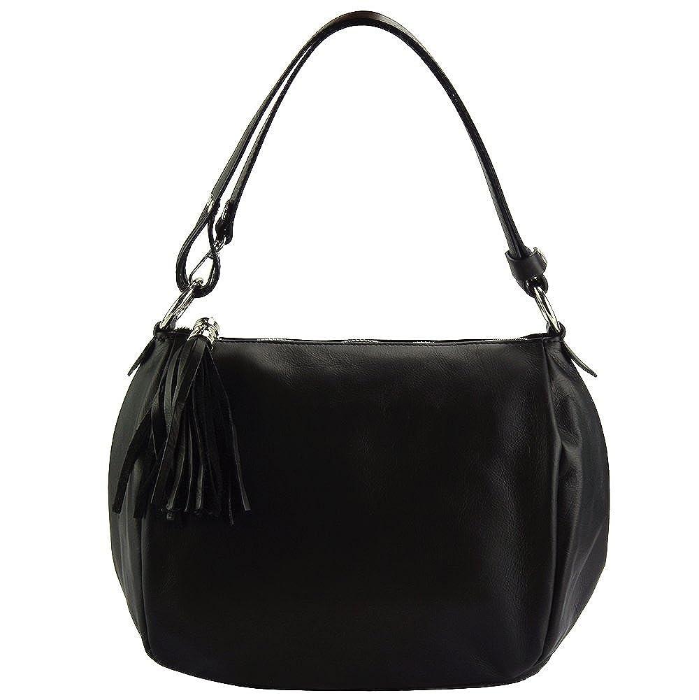 797187c279ff7 Luisa Shoulder bag in genuine leather - 6118 - Leather bags (Black)   Handbags  Amazon.com
