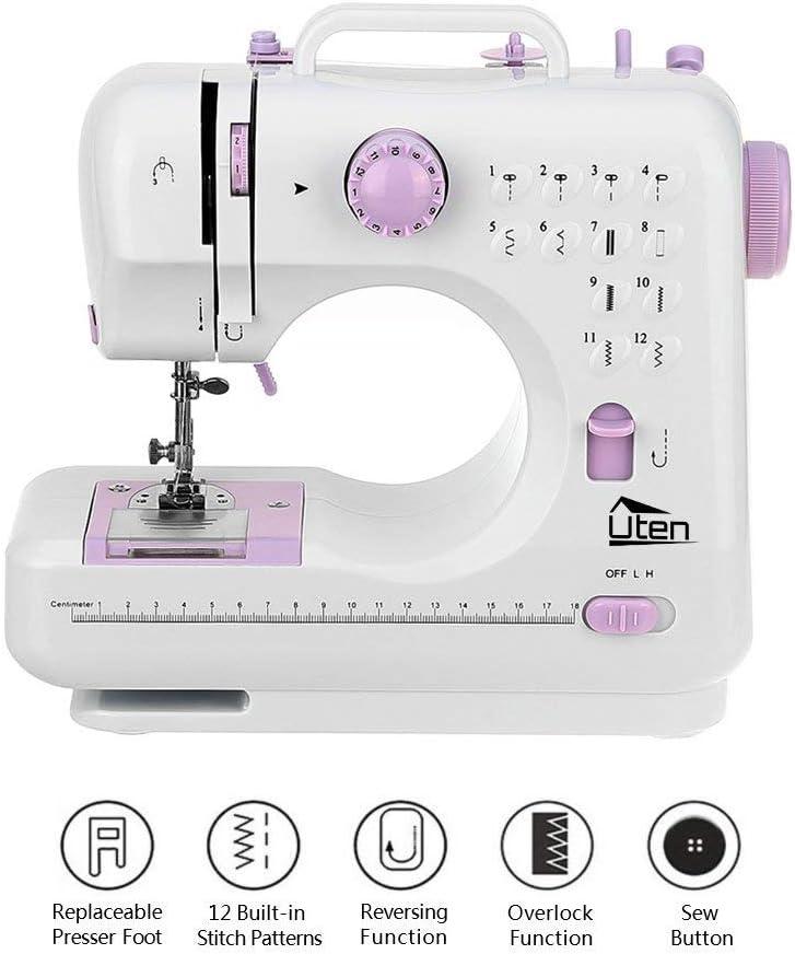 Kranich máquina de coser portátil de 2 velocidades 12 puntadas doble aguja Mini máquina de coser: Amazon.es: Hogar