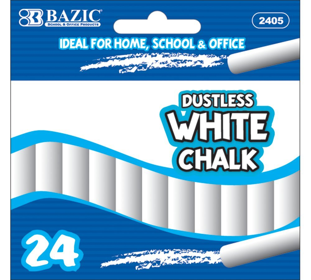 Bazic Dustless Chalk, White, 24 per Box (Case of 24) 2405-24