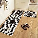 yazi Non-Slip Doormat Kitchen Rugs Black&White Style Mat Cool Cat (15.7x23.6inch + 15.7x45.3inch)