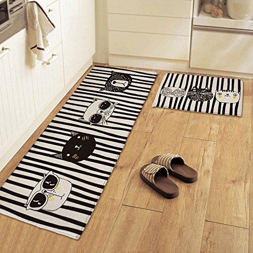yazi Non-Slip Doormat Kitchen Rugs Black&White Style Mat Cool Cat (15.7x23.6inch + 15.7x45.3inch) by yazi