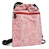 KroO Lava Xolo Play Tegra Note Sleeve Case Cover   Coral Red and White Paisley Drawstring Bag