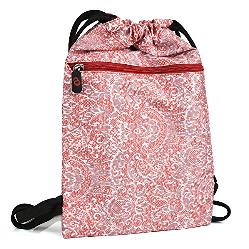 KroO Lava Xolo Play Tegra Note Sleeve Case Cover | Coral Red and White Paisley Drawstring ()