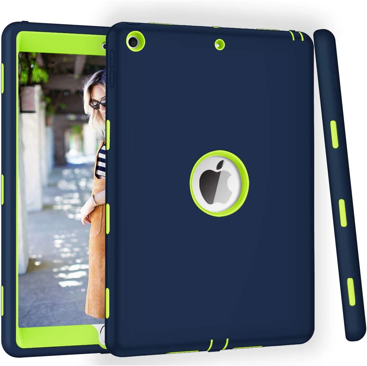 ZHK iPad 8th/7th Generation Case, iPad 10.2 2020/2019 Case, Heavy Duty Shockproof Case High Impact Resistant Rugged Hybrid 3 Layer Full-Body Protective Case Cover for Apple iPad 10.2 inch-Blue Green