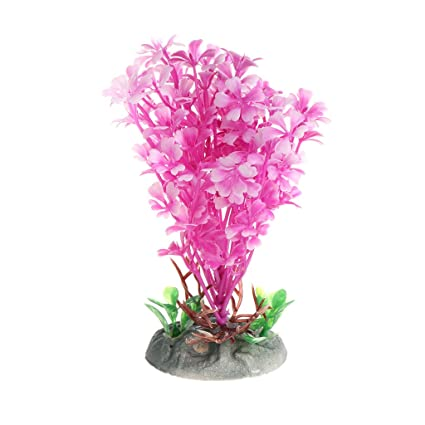 Daxibb Plantas acuáticas Dabixx Pink Sea Flower Artificial Fish Tank Acuario en Primer Plano Decorar