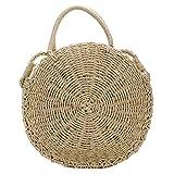 Straw Crossbody Bag for Women Weave Shoulder Bag Round Summer Beach Purse and Handbags (Khaki)