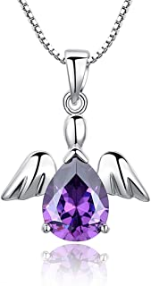 HALOQUEEN Women's 925 Sterling Silver Purple Crystal Lovely Angel Pendant Necklace with Chain