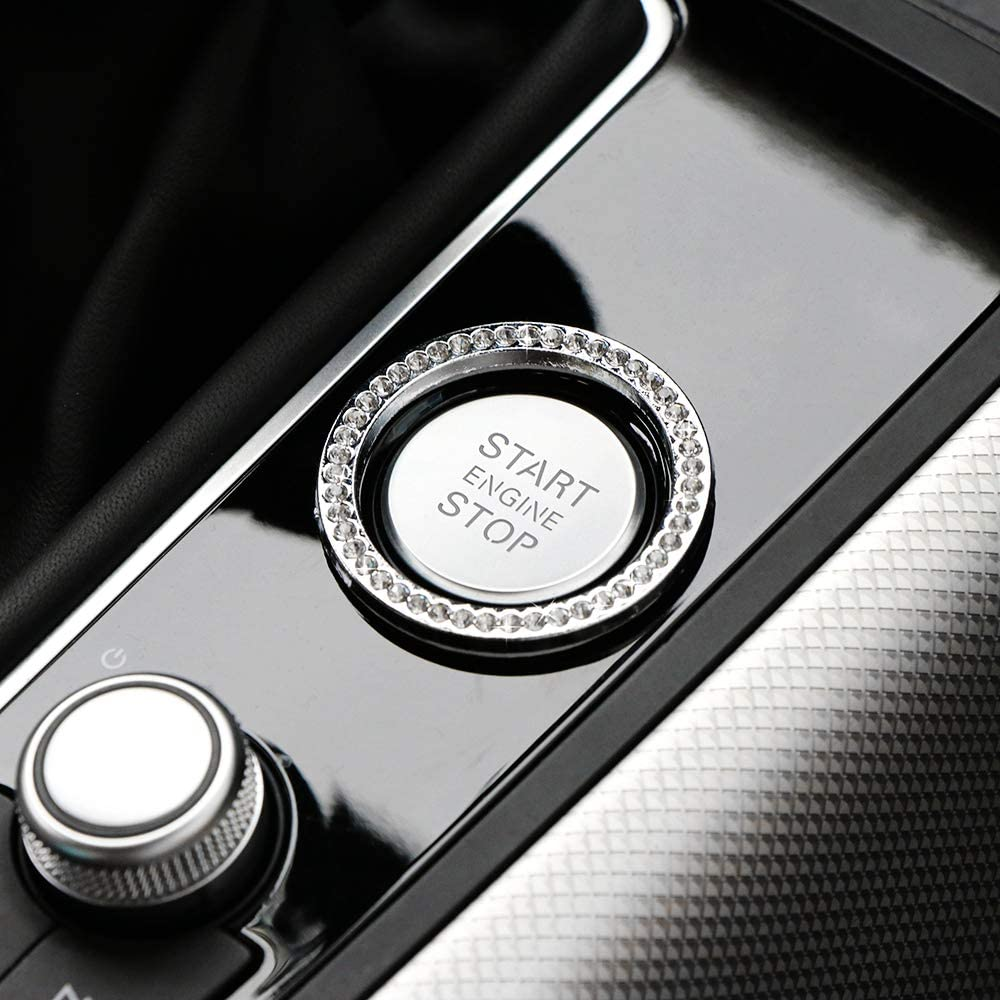 Bling Car Decor Crystal Rhinestone,Car Bling Ring Emblem Sticker,Bling Car Accessories for Auto Start Engine Ignition Button Key /& Knobs,Diamond Car Accessories,Unique Gifts for Women Silver