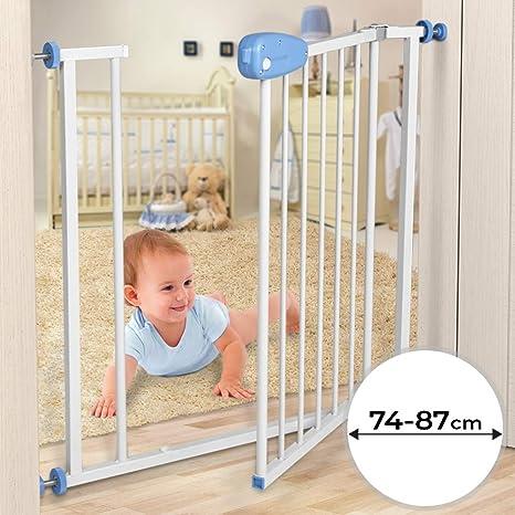 Barrera de seguridad para niños - Ajustable entre aprox. 74-87 cm, Metálica - para Puertas y Escaleras: Amazon.es: Bebé