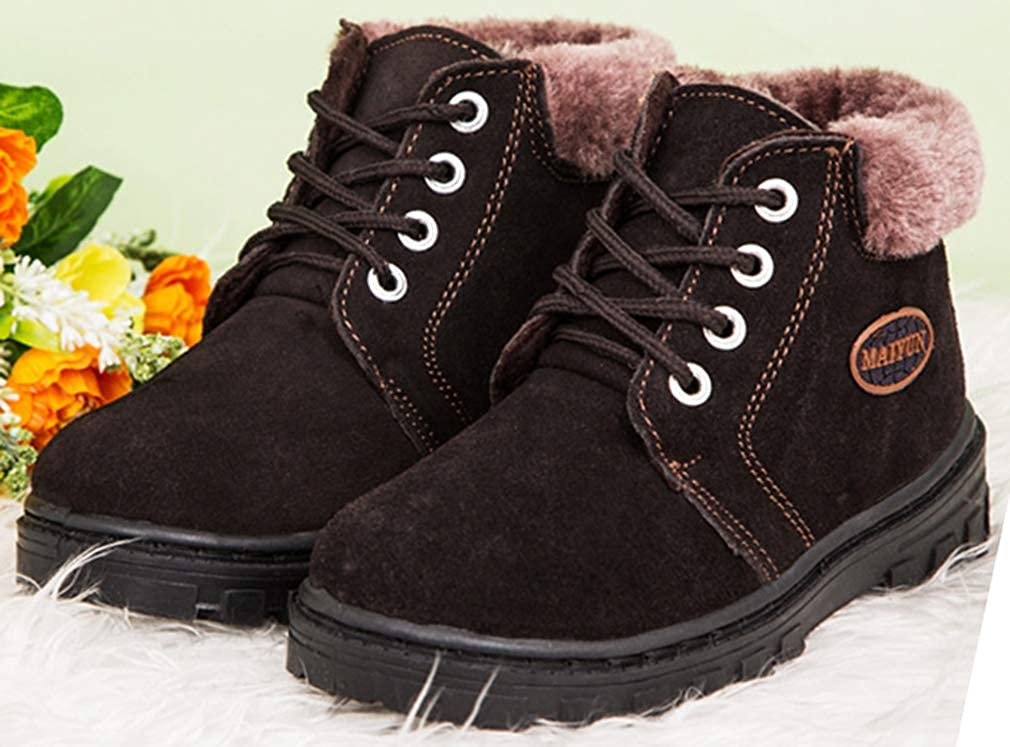 Little Kid//Big Kid VECJUNIA Boys Girls Suede Lace Up Nonslip Snow Boots