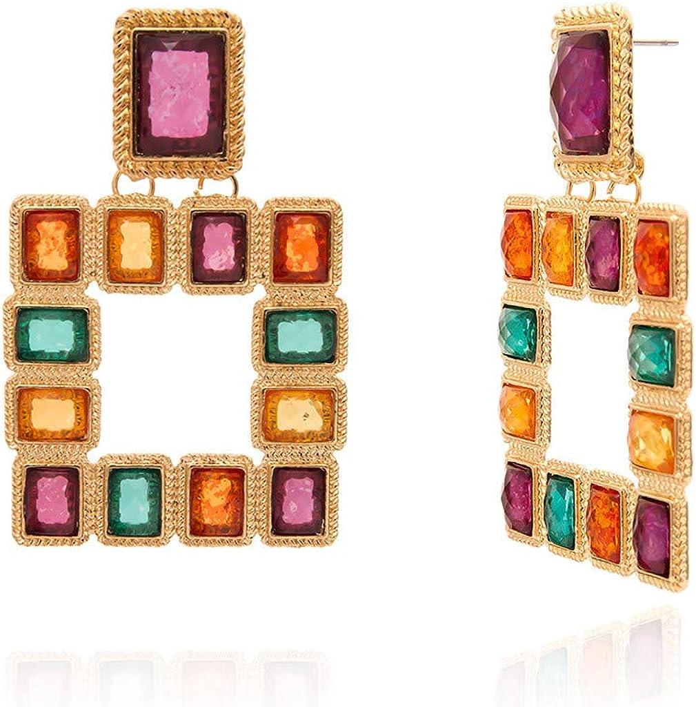 fiosoji Pendientes,Mosaico Cristal de piedras preciosas de colores,aretes para mujer largos oro