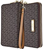 Michael Kors Saffiano Leather Large Zipper Multifunction Wallet Case, Luxury Pouch for iPhone 6 Plus, 7 Plus, 8 Plus, S7 Edge. S8 Edge, or Any Large Smarphones - Brown