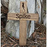 Personalized Pet Name Memorial Cross - Wood Burial Grave Marker - Lizard, Dog, Cat, Rodent