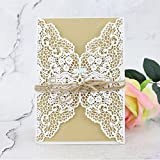 Shinejoy 20pcs Elegant Floral Laser Cut Wedding Invitations Cards for Birthday Party Baby Shower Bridal Shower Invitations (20, Floral-White)