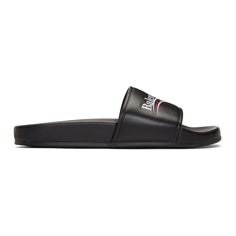 ae6253ed9 TOPSHOD Unisex Mens Womens Balenciaga Sandals Piscine Flat Balenciaga Slide  Leather Logo Black: Amazon.co.uk: Shoes & Bags