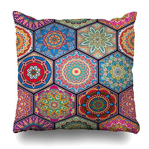 GisRuRu Throw Pillow Covers Bohemian African Pattern Moroccan Mandala Indian Petal Pink Tribal Abstract Batik Carpet Eastern Home Decor Sofa Pillowcase Square Size 18 x 18 Inches Cushion Cases