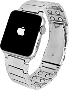MagnetRX Magnetic Therapy Apple Watch Band - 316L Stainless Steel Ultra Strength Magnet Therapy Watch Band Compatible for Apple Watch Series 6/5/4/3/SE (Silver, 42mm/44mm)