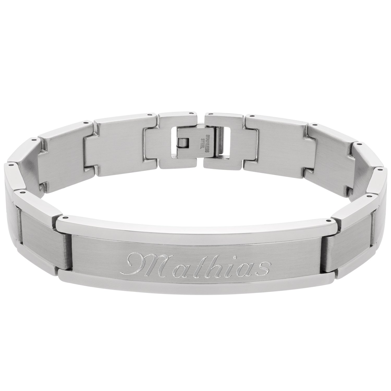 Pur Wunsch Massives Herren Edelstahl Armband Gravur Schmuck Mit 4RcAjq35L