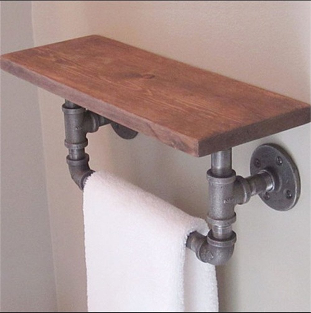 FHLYCF European style retro industrial pipes, toilets, towel racks, solid wood shelves, wall hanging shelves