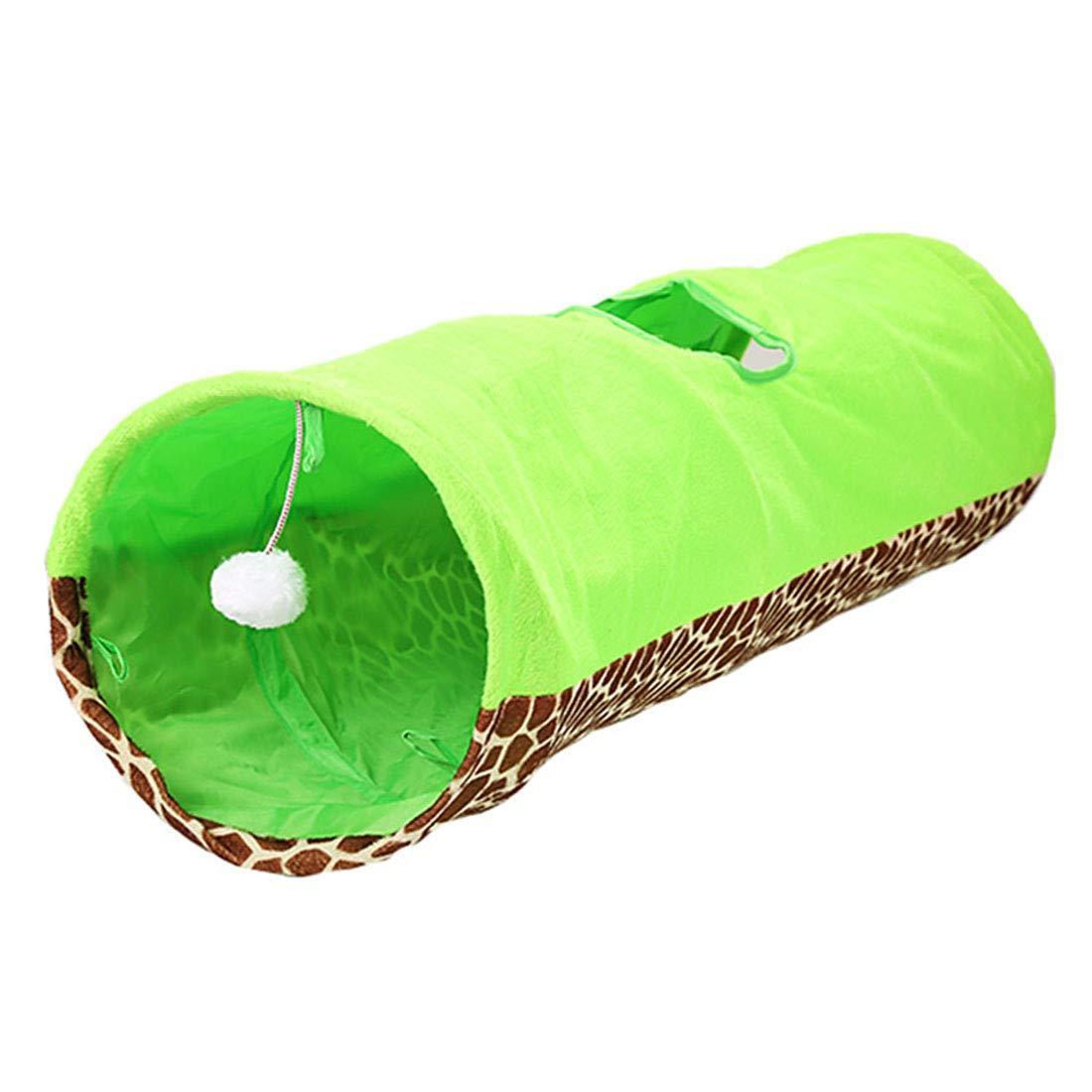 Green Huayue Hole Foldaway Cat Tunnel Cat Channel Two-color Selection Cat Bell Ball Pompom Toy (color   Green)