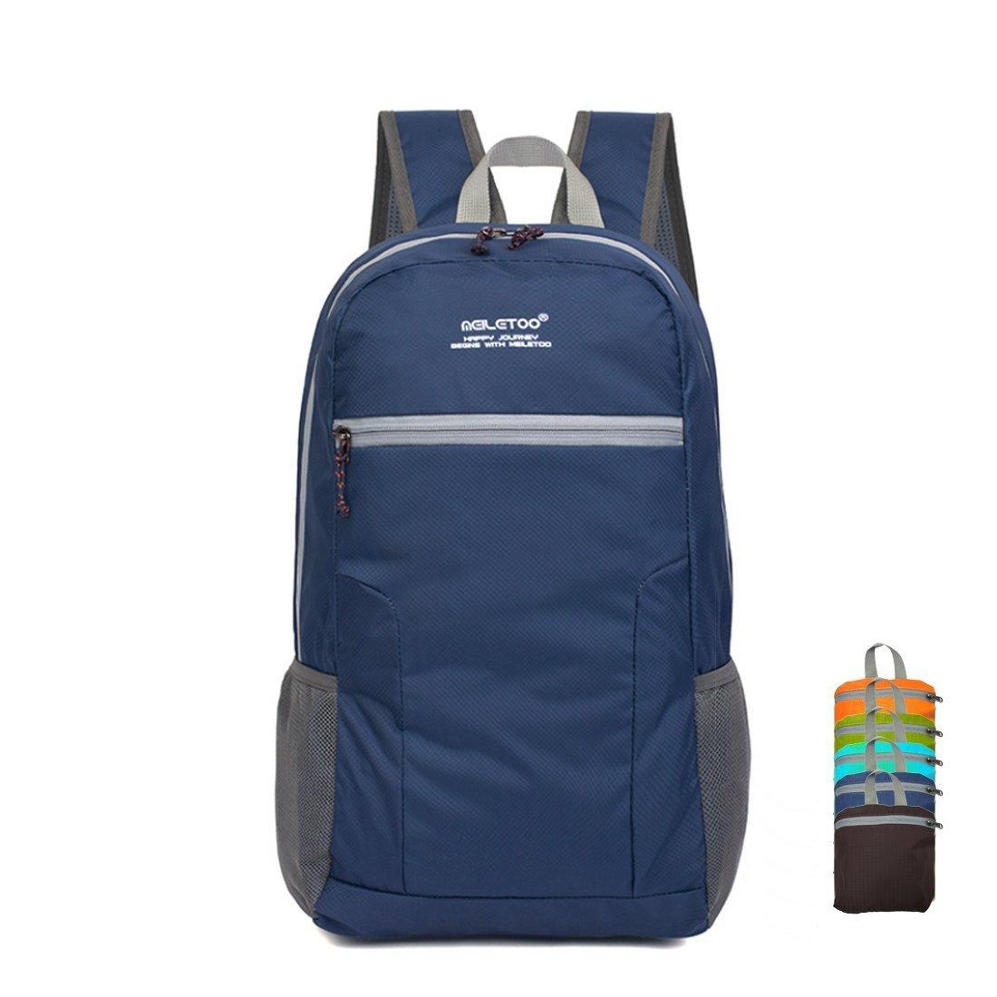 Bagspert Ultralight Foldable Multipurpose Backpack with Water Proof Rain Cover (Navy Blue)