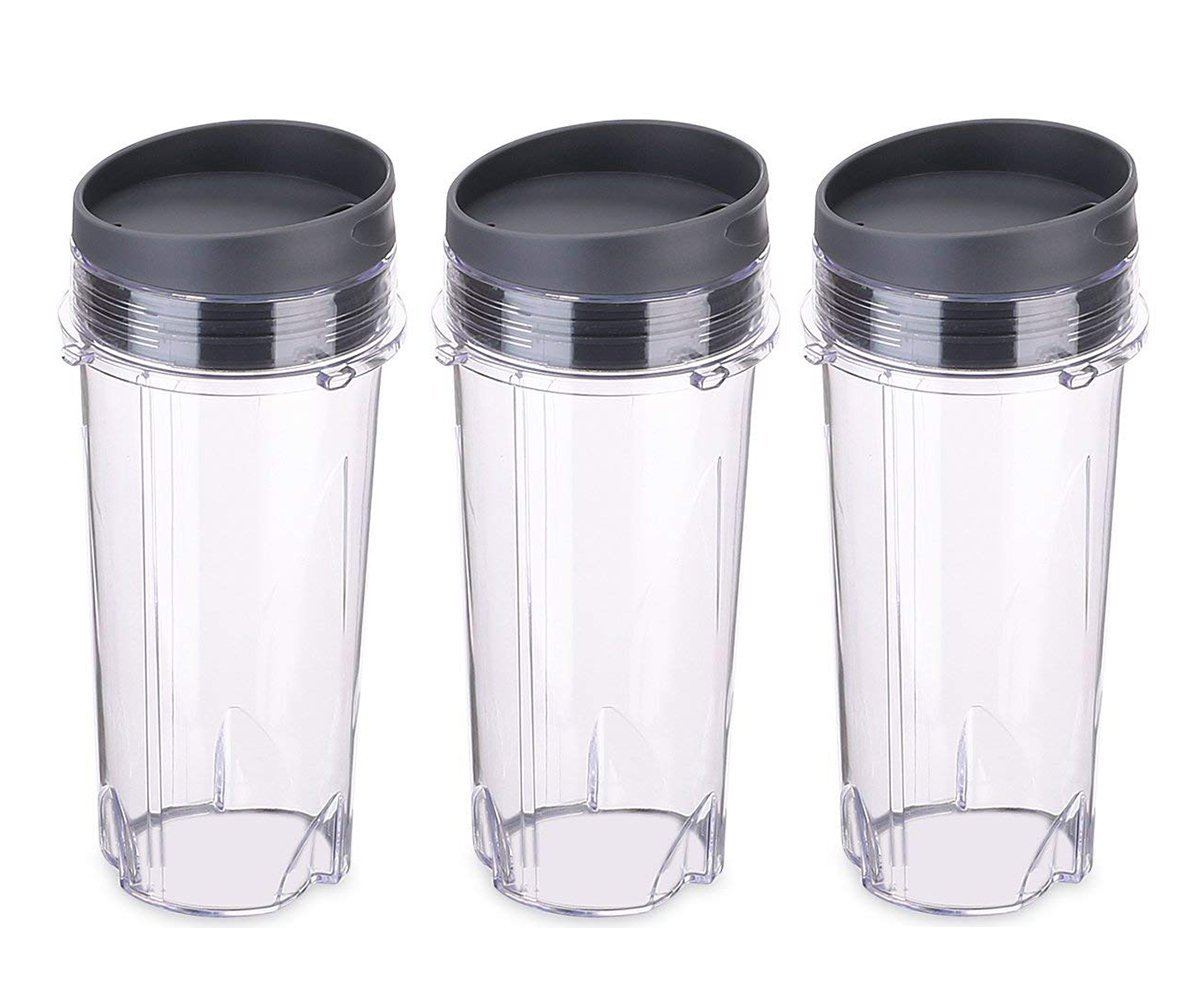 Replacement Part for Nutri Ninja Blender,16 oz Cup with 3 Sip&Seal for BL770 BL780 BL660 All Pro 4 Tab Blenders (Pack of 3)