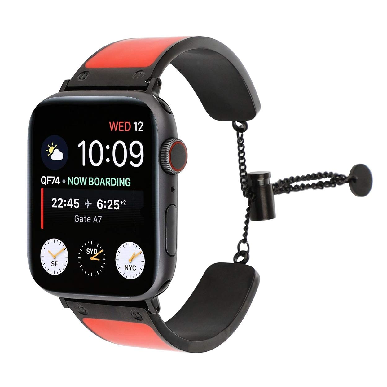 Juzzhou Compatible with Watch Band Apple Watch iWatch Series 1 2 3 4 Wriststrap Wristband Bracelet Wrist Strap Guard Replacement with Metal Adapter Buckle for Woman Girls Lady Boy Red 38mm 40mm